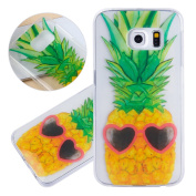 ISAKEN Samsung Galaxy S6 Edge Case, Galaxy S6 Edge Cover Shock-Absorption Bumper Colourful Printing Case Anti-Scratch Ultraslim COVER Soft Clear TPU Protective Case for Samsung S6 Edge - Pineapple