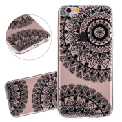 ISAKEN Apple iPhone 6 Case 12cm Bumper Cover Shock-Absorption Bumper and Anti-Scratch Ultraslim Case for iPhone 6/6s 12cm -Soft Clear TPU Cover Unique Elegant Printing Drawing Flower Design Black TPU Case - flower #D