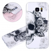 ISAKEN Samsung Galaxy S7 Edge Case, Galaxy S7 Edge Cover Shock-Absorption Bumper Colourful Printing Case Anti-Scratch Ultraslim COVER Soft Clear TPU Protective Case for Samsung S7 Edge - Skull