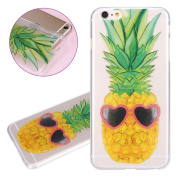 ISAKEN iPhone 6 Plus Case, iPhone 6S Plus Cover Shock-Absorption Bumper Colourful Printing Case Anti-Scratch Ultraslim COVER Soft Clear TPU Protective Case for Apple iPhone 6(14cm ) - Pineapple