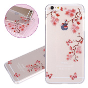 ISAKEN iPhone 6 Plus Case, iPhone 6S Plus Cover Shock-Absorption Bumper Colourful Printing Case Anti-Scratch Ultraslim COVER Soft Clear TPU Protective Case for Apple iPhone 6(14cm ) - Pink flower