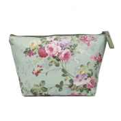 TaylorHe Make-up Bag Cosmetic Case Toiletry Bag Printed PVC zipped top Classic Vintage Roses on Green