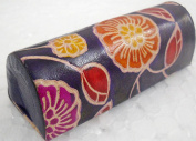 Ethnic Hand Embossed Colourful Floral Design Blue Lipstick case with Mirror-Shantiniketan Pure Leather