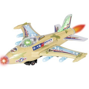 Best Choice Products Kids Toy F-16 Fighter Jet Aeroplane with Flashing Lights, Sound, Bump & Go Action, Beige by Best Choice Products
