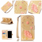 PowerQ _ for IPhone 7Plus IPhone7Plus - Flower Campanula (gold) _ PU Artificial-Leather Case Holster Colourful Pattern Series Painting Print Wallet Purse Bag Cellphone Case mobile Cover Protect with Stand Holder Bracket