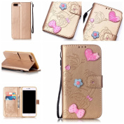PowerQ _ for IPhone 7Plus IPhone7Plus - Embossing Flower Hearts (gold) _ PU Artificial-Leather Case Holster Colourful Pattern Series Painting Print Wallet Purse Bag Cellphone Case mobile Cover Protect with Stand Holder Bracket