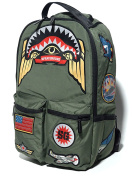 Sprayground Green Army Shark Patches Backpack