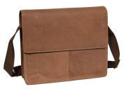 Mens Messenger Shoulder Bag REAL Brown Distressed Leather Hunter Satchel Bag - Davis