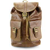LoudElephant Real Leather Backpack with Two Front Pockets