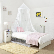 Mosquito Nets 4 U Princess Bed Canopy with Shiny Silver Stars, White