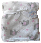 Baby Girls White Pink and Grey Elephants Infants Wrap Blanket 76cm x 76cm approx