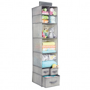 mDesign Fabric Baby Nursery Closet Organiser for Stuffed Animals, Blankets, Nappies - 7 Shelves and 3 Drawers, Grey
