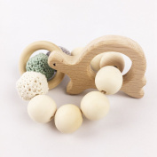 Baby Teether Animal Crochet Natural Baby Wooden Teether Wearing Breastfeeding Baby Bracelet Teether Toys