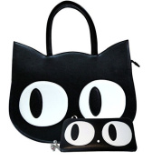 Banned Apparel Cat Kitty Paw Large Faux Leather Handbag & Wallet SET Black