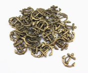 yueton 50pcs Vintage Anchor Sign Metal Charms Beads Pandent Jewellery Making Accessory