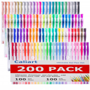 Caliart 200 Colouring Gel Pens Set - 100 Unique Colouring Pens Plus 100 Ink Refills - Non Toxic & Acid Free Gel Pen for Adult Colouring Books Sketching Drawing Painting Writing