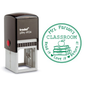 Self Inking Stamp From the Library of Teacher Gift Customizable Teacher Stamp This Belongs to Labels Personalised Black Ink Circle Classroom Stamp