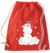 Jute Bag Gym Bags Sports Bag Cloth bag Cotton bag bag Carrybag Backpack Hipster Cotton Gymsack Unicorn Unicorn cutie - Red