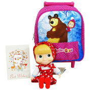 Masha and the Bear Primary School Backpack with Wheels Trolley with Masha Red