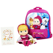 Masha and the Bear Primary School Backpack Pink with Masha Purple extractable