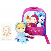 Masha and the Bear Primary School Backpack Pink with Masha Blue extractable