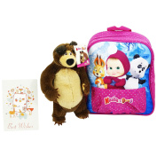 Masha and the Bear Primary School Backpack Pink with Bear extractable