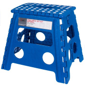 Acko 41cm Super Strong Folding Step Stool for Adults and Kids, Blue Kitchen Stepping Stools, Garden Step Stool, holds up to 200kg