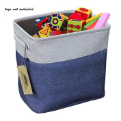 Abonnylv Collapsible Rectangular Fabric Storage Bin Organiser Basket with Handles for Clothes Storage,Toy Organiser,Pet Toy Storing,Navy Blue