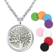 Essential Oil Diffuser Pendant Necklace,Stainless Steel Aromatherapy Diffuser Magnetic Locket Necklaces with 70cm Chain and 8 Colour Pads,Girls Women Jewellery Gift Set