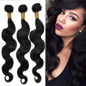 Feb'L Fleur Brazilian Hair Extensions,Unprocessed Human Hair Body Weave 3 Bundles Natural Black Colour
