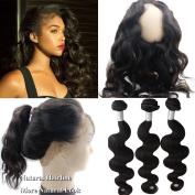 Atina hair Peruvian 360 Frontal with Bundles 360 Lace Frontal Band with bundles with Baby Hair Body Wave