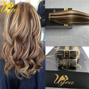 Ugea 60cm Remy Hair Extensions Highlight Coloured Brown Mixed Blonde Skin Weft Tape in Hair Extensions Silky Straight Human Hair Extensions