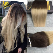 Ugea 60cm Invisble Skin Weft Remy Human Hair Tape in Extensions Omber Coloured Brown to Blonde Straight Glue in Hair Extensions
