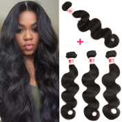 YIZE Hair Brazilian Hair Body Wave 4 Bundles 7A Human Hair Weave Bundles Unprocessed Virgin Brazilian Hair Natural Black Colour