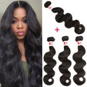YIZE Hair Brazilian Hair Body Wave 4 Bundles 7A Human Hair Weave Bundles Unprocessed Virgin Brazilian Hair Natural Black Colour