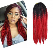 60cm Crochet Braid Hair Extensions, Havana Mambo Twist 12 Strands/ Pack, 120g, Black to Red