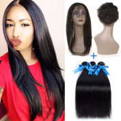 GEFINE Hair 360 Lace Frontal Band With Bundles Brazilian Virgin Straight Human Hair Weave With 360 Lace Frontal Band Closure 22.542 Baby Hair Around And Natural Hairline 24 24 24+50cm