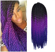 60cm Crochet Braid Hair Extensions, Havana Mambo Twist 12 Strands/ Pack, 120g, Black to Purple to Blue
