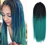 60cm Crochet Braid Hair Extensions, Havana Mambo Twist 12 Strands/ Pack, 120g, Black to Turquoise