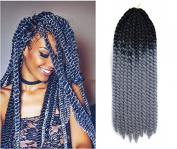 60cm Crochet Braid Hair Extensions, Havana Mambo Twist 12 Strands/ Pack, 120g, Black to Grey