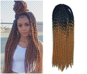 60cm Crochet Braid Hair Extensions, Havana Mambo Twist 12 Strands/ Pack, 120g, Black to Honey Blonde