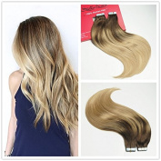 Stella Reina PU Weft Tape In Hair Extensions 100g 40pcs Chocolate Brown Balayage Ombre Hair with Dirty Blonde Highlights Neutral Colour #4/18 Silky Straight Remy Human Hair Extension 60cm