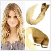 Stella Reina 60cm PU Weft Glue Tape In Hair Extensions Package 100g/40 pcs Dip Dyed Ombre Remy Hair 8/613 Chestnut Caramel Brown With Platinum Bleach Blonde Sombre 2 Colours Real Human Hair
