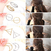 CellElection 8 pcs Gold and Silver Hollow Geometric Metal Hairpin Clamps,Circle, Triangle , Moon and lips Hair Clip