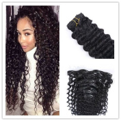 """Deep Wave Clip in Human Hair Extensions12""""-70cm Malaysian Virgin Remy Hair Weaves Clip Ins Natrual Black Clip In Hair Extensions 7pc/120g 10pc/120g"""