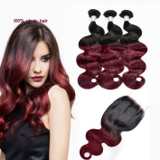 Grace Plus Ombre Hair Extensions Black to Wine Red Human Hair Bundles Body Wave With Closure Ombre Burgundy