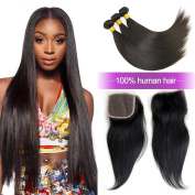 Charming 8A Brazilian Straight Hair Weaves 3pcs/lot with Lace Closure Free Part Virgin Remy Cheap Human Hair Bundles Natural Colour