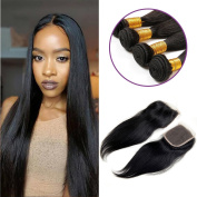 Charming Brazilian Straight Hair 4 Bundles With a Free Part Lace Closure 100% Unprocessed Human Hair Bundles Natural Colour