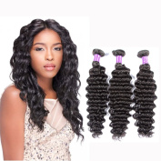 Brazilian Deep Curly 3 Bundles 8a Grade Virgin Hair Extensions Unprocessed Human Hair Bundles 300g Natural Black Colour