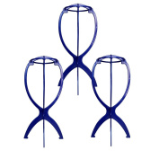 AStorePlus Folding Stable Wig Stand Hair Hat Cap Holder, 3 Pack Blue